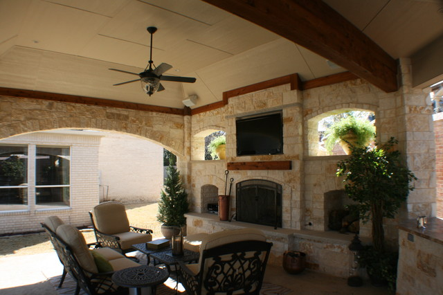 Fort worth covered patio with pergola outdoor kitchen and for Covered porch with fireplace