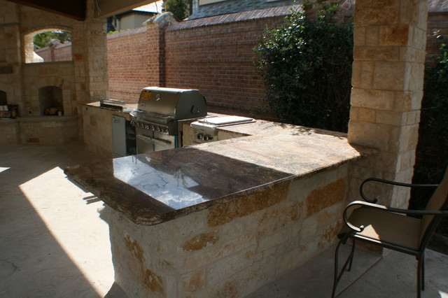 Fort Worth Covered Patio with Pergola Outdoor Kitchen and ... on Covered Outdoor Kitchen With Fireplace id=30476
