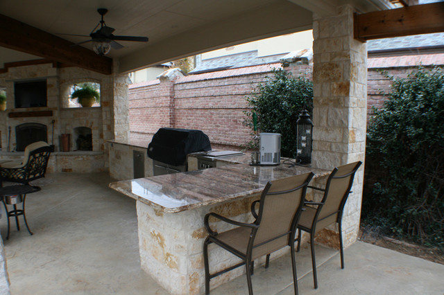 Fort Worth Covered Patio With Pergola Outdoor Kitchen And Fireplace Traditional Porch