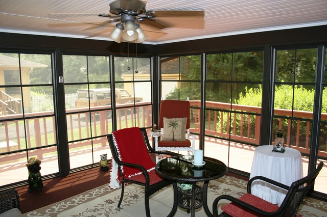 Four-Track Window System Spruces Up Screened Porch traditional-porch
