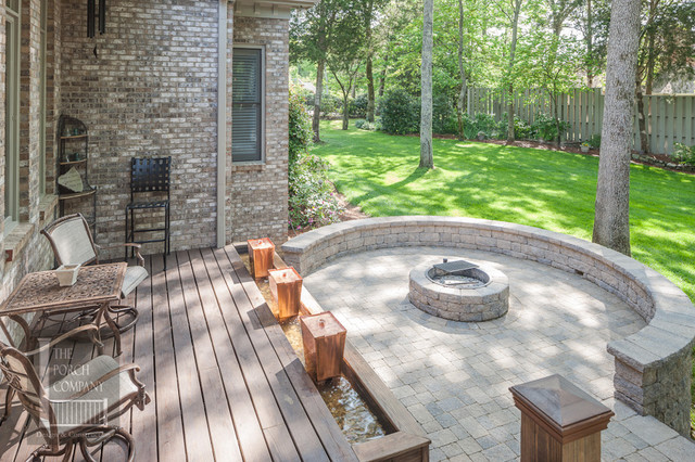 deck patio with fire pit. Franklin TN Open Porch, Deck, Water Feature, Patio And Fire Pit Traditional- Deck With E