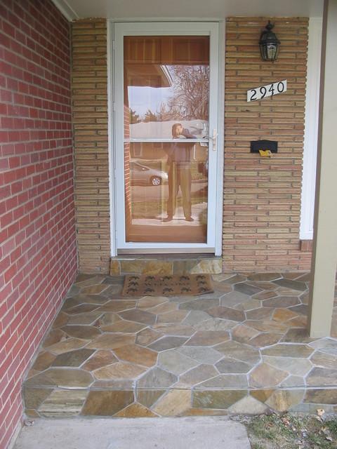 Front Porch Cobblestone Slate Tile Traditional