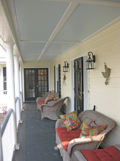 Front Porch Painted Ceiling Traditional Porch