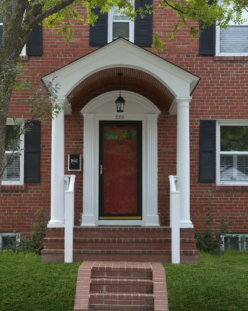 Front porches and porticos traditional porch dc for Front door arch design