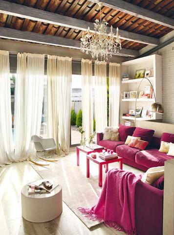 fushia sofa contemporary-porch