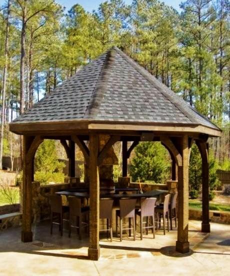 Gazebo and outdoor kitchen for Outdoor kitchen gazebo design