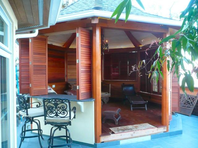 Gazebo With Plantation Shutters Tropical Porch