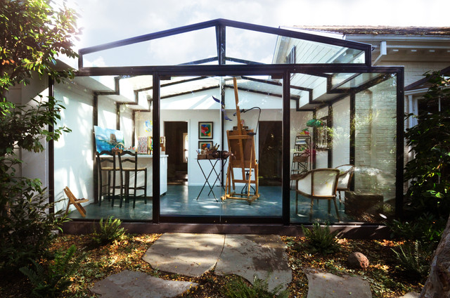 Glass art studio addition contemporary porch san for Modern glass porch designs