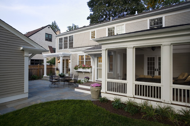 Greek revival remodel screened porch traditional for Porch renovation ideas