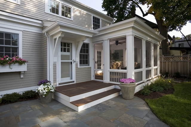 Greek revival remodel screened porch traditional for Houses with screened in porches