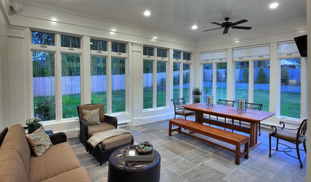 Hampden Shingle Style traditional-porch