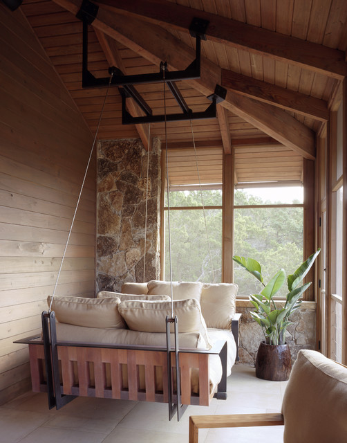 hanging bed traditional porch