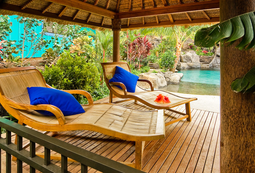 Inspiration for a tropical porch remodel in Hawaii with decking