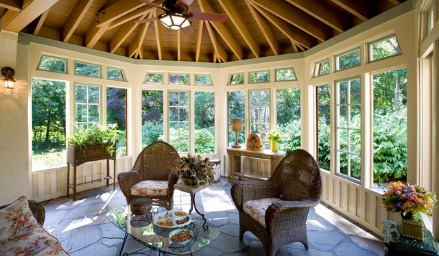 Hidden bungalow and gatehouse victorian porch boston for Craftsman style screened porch