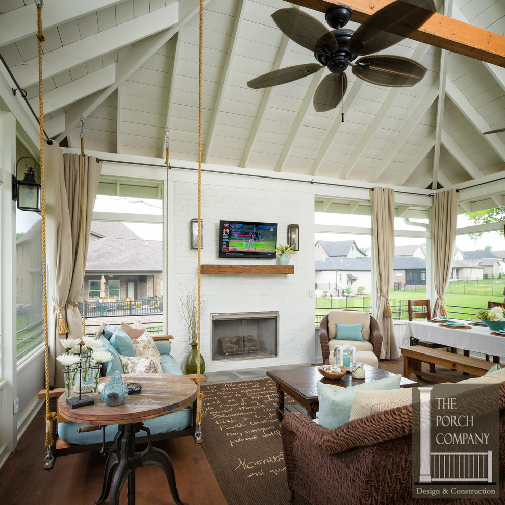 Hip Roof Screened Porch With Deck And Patio Porch Nashville By The Porch Company