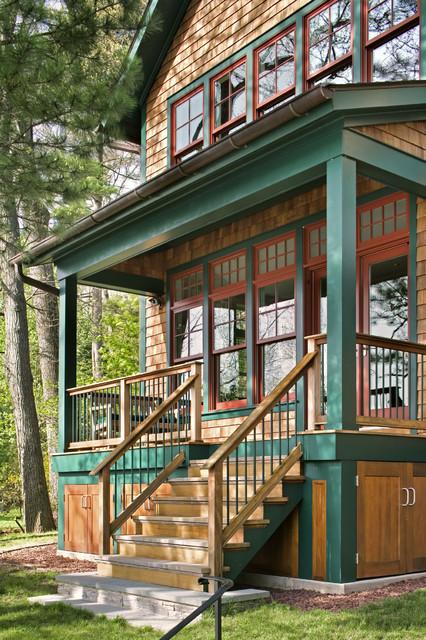 Interior and exterior views rustic porch bridgeport for Front entry decks