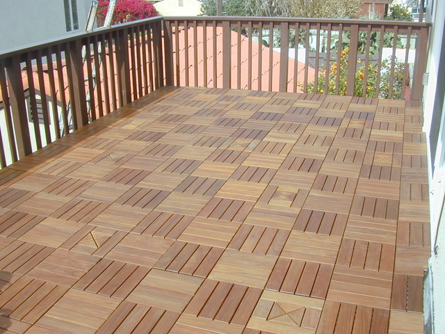 Interlocking deck tiles modern porch other metro for Garden decking squares