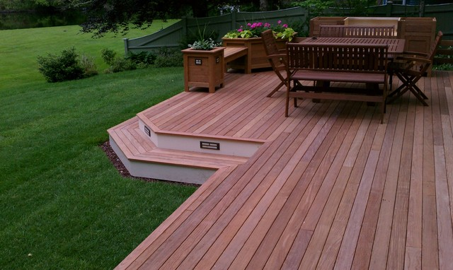 Ipe wood and composite deck with matching planters for Ipe vs composite decking