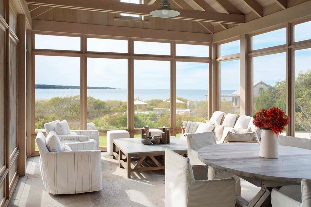 Inspiration for a coastal screened-in porch remodel in Boston