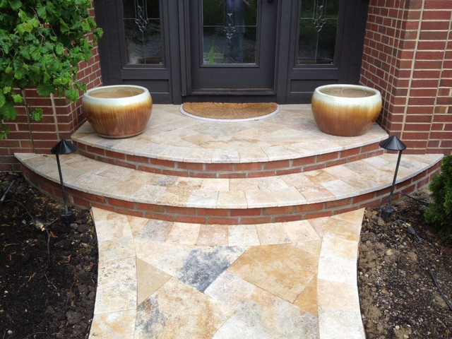 Jessup Travertine Front Porch And Walkway Centerville