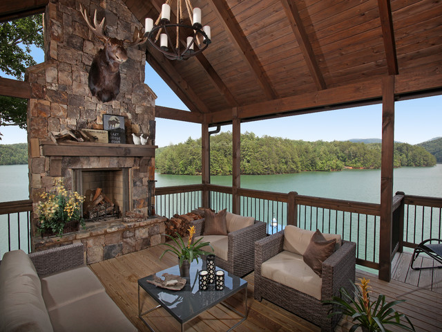 lake bluff lodge under construction rustic porch. Black Bedroom Furniture Sets. Home Design Ideas