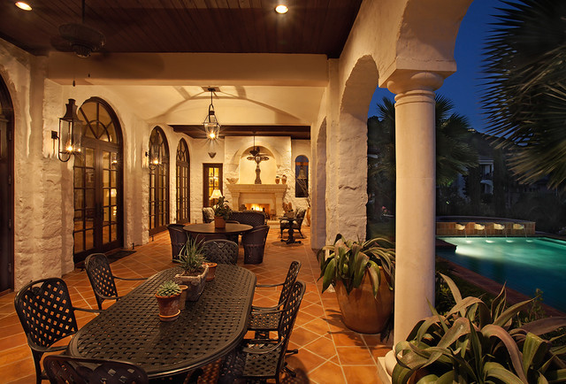 Lake Home Exterior mediterranean porch