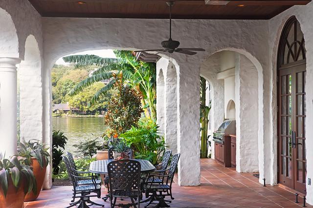 Lake home exterior mediterranean porch austin by for Mediterranean front porch designs