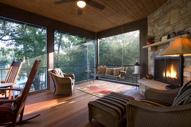 Mid-sized transitional back porch photo in Other with decking, a fire pit and a roof extension