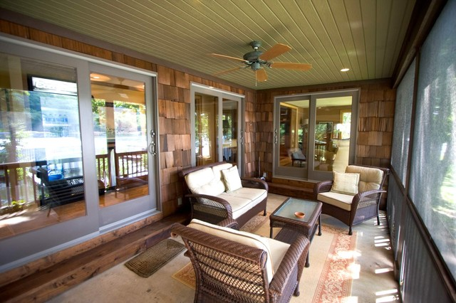 Lakeside Cabin Remodel traditional-porch