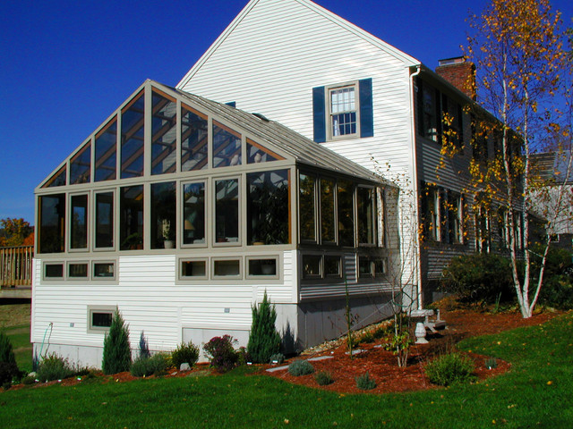 Large gable roof sunroom addition traditional porch for Gable roof addition