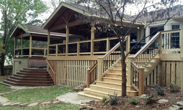 Large Porch Design Renovation, both sets of stairs traditional-porch