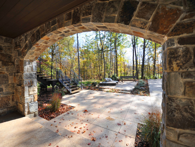 Large Stone Arches At Basement Walk Out Traditional