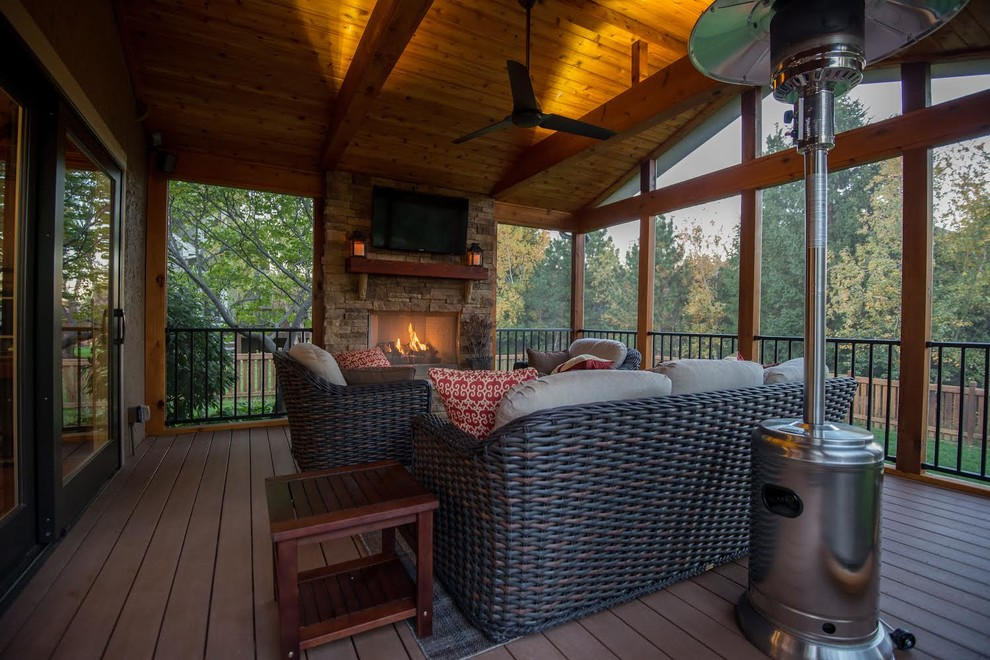 Leawood Ks Screened Porch With Outdoor Fireplace Traditional Porch Kansas City By Archadeck Of Kansas City