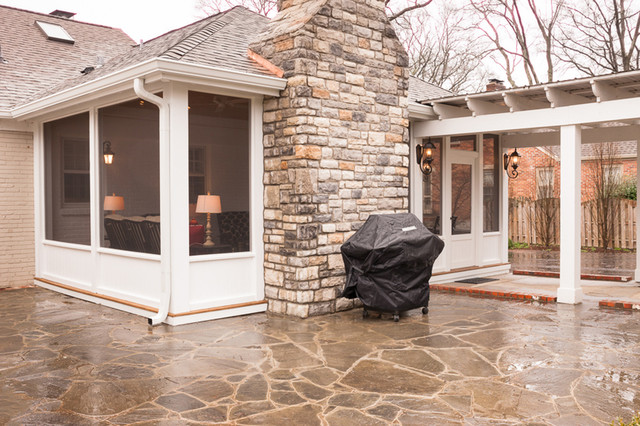 screen porch fireplace. Light and airy screened porch with stone veneered fireplace eclectic