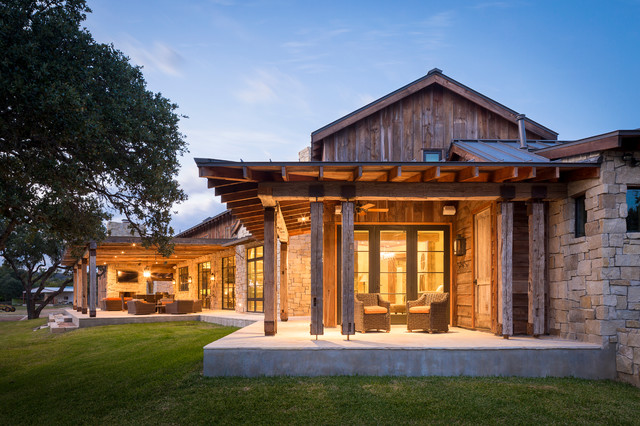 Llano ranch rustic porch austin by cornerstone architects Rustic home architecture