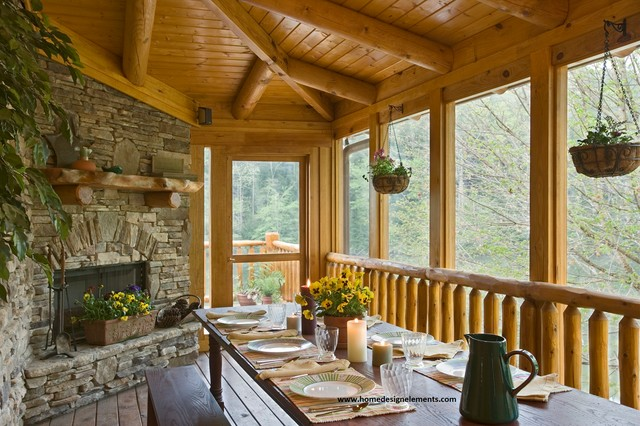 Log home edenfield traditional porch other by for Log home porches