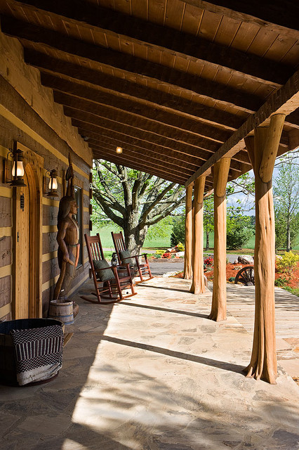 log home with barn wood and western decor traditional porchlog home with barn wood and western decor traditional porch, nashville