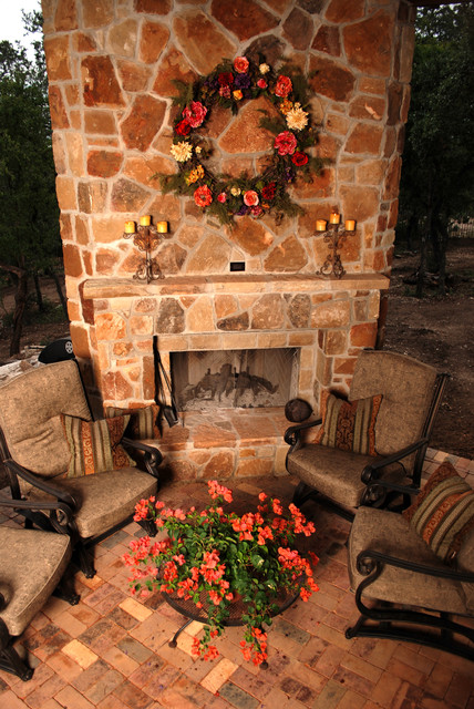 Mediterranean california mission spanish colonial for Spanish outdoor fireplace