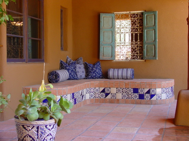 Mexican tile and stone for Mexican porch designs