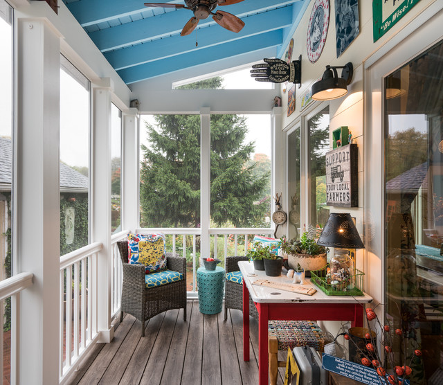 22 Eclectic Porch Ideas: Midwest Screened Porch Addition With Eclectic Vintage