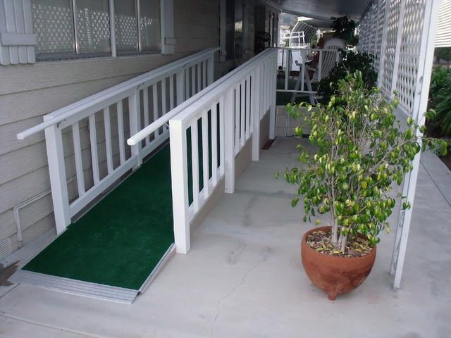 Mobile home custom ramps for Handicap mobile homes
