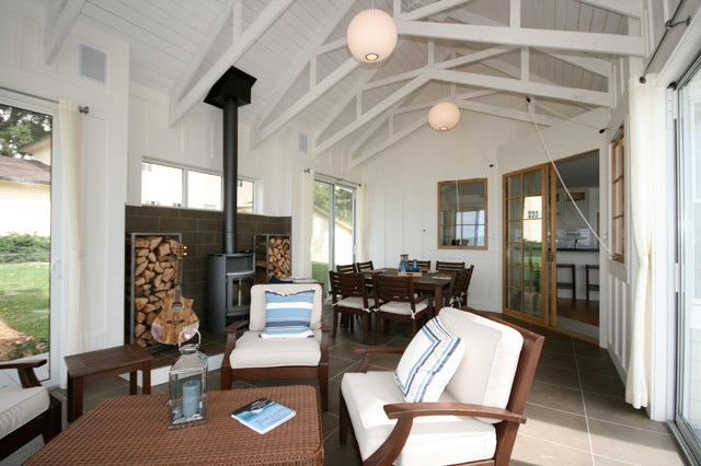 Monroe beach house beach style porch other metro for Wood burning stove for screened porch