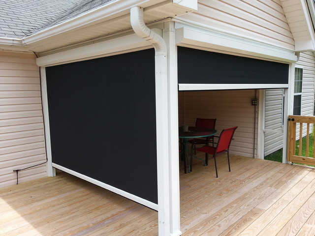 Motorized Roll Down Solar Shade Traditional Porch
