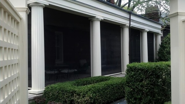Motorized screens porch with columns porch chicago Motorized porch screens