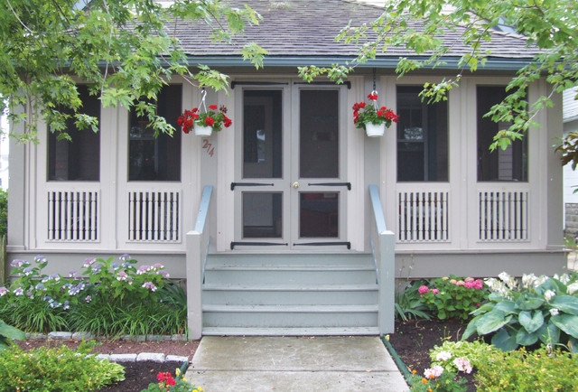 New porch enclosure traditional porch philadelphia for Craftsman style screened porch