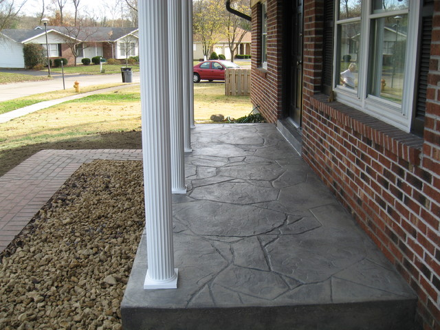 New Stamped Concrete Porch And Posts Porch St Louis