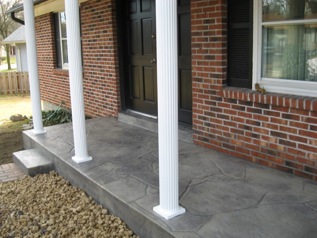 New Stamped Concrete Porch And Posts St Louis By Benhardt Construction amp Remodeling