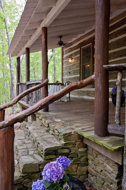 North Georgia Log Cabin Front Porch And Steps
