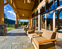Okanagan Log Home rustic-porch