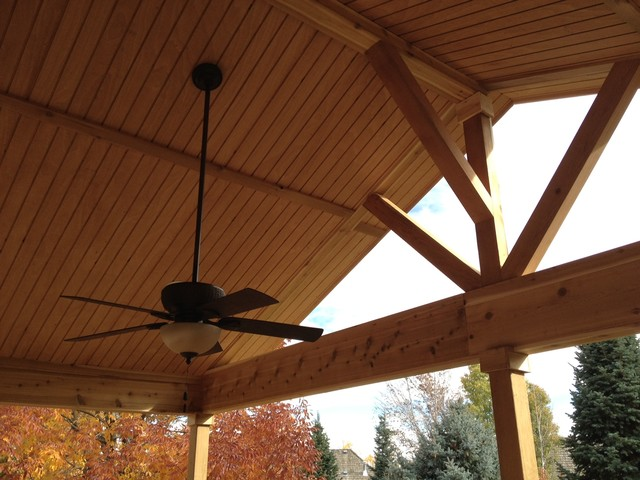 Open Porch With Can Lights Ceiling Fan